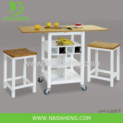 Bamboo Wooden Kyoto Kitchen Trolley Rolling Cart Rack