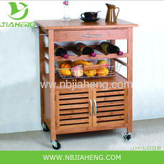 Bamboo And Metal Kitchen Trolley With Big Storage Cabinet And Wine Rack