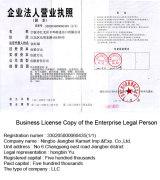 Business License Copy of the Enterprise Legal Person