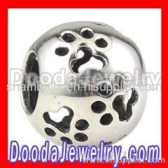 Silver european Paw Print Charm