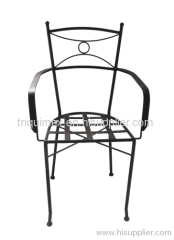 Powder coated wrought iron armchair