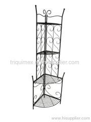 Corner wrought iron folding shelf