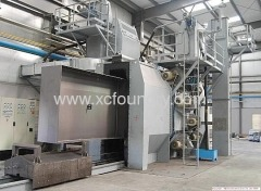 Large-scale trolley types pellet-gushing cleaning room