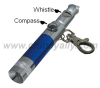 Promotion whistle keychain light with compass