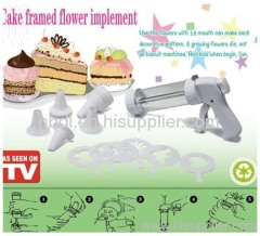 Cake framed flower implement