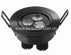 Black Indoor Aluminum 3E LED Ceiling Light