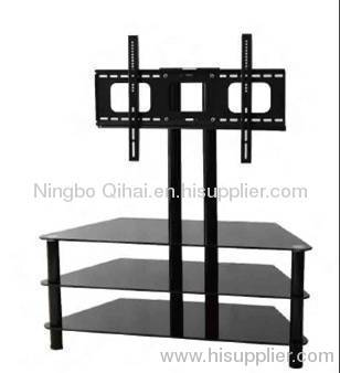 salable silver color ladder type lcd/plasma tv table (with bracket,tempered glass,stainless steel tubes)