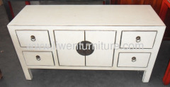 White TV cabinet 4 drawers 2 doors