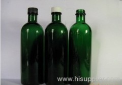 2012 most popular 200ml green long neck essential oil bottle mixed plastics + small cover plate