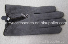 Pig Suede Leather Gloves with Zipper