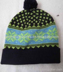 Acrylic Jacquard Knitted Hat with Pom-Pom
