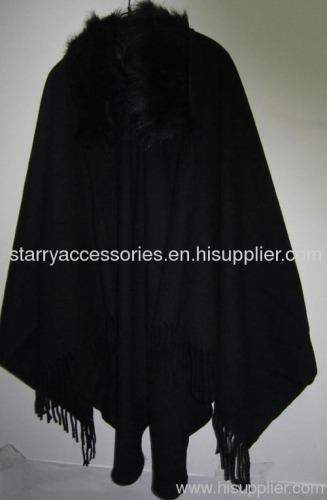 Ladies Acrylic Woven Shawl with Fake Fur Collar