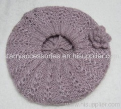 acrylic pink color double layer knitted beret with flower and lurex
