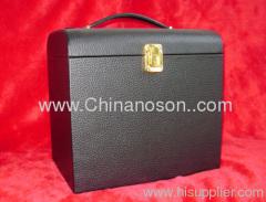 PU Leather black Lockable catch Jewelry box