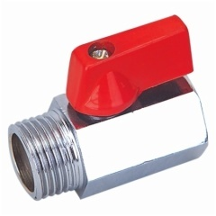 Forged Copper Mini ball valve With Red Handle