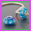 Cyan silver plated core murano glass bead PGB552 with flowers