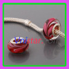Red silver plated core wholesale murano glass bead PGB548 with pink hearts