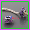 Silver plated core wholesale murano glass bead PGB546 with purple flowers