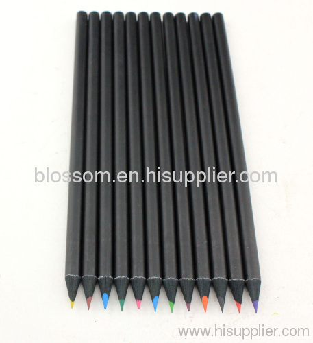 Black wooden color pencils china manufacturers with logo