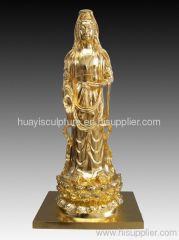gold plated bronze buddha standing statue (Bodhisattva)