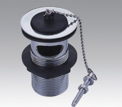 Brass Chrome Plated Waste Drain With Rubber Plug And Chain
