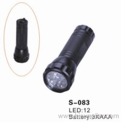 12 pieces led flashlight with 35 lms,powered by 3*AAA battery