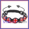British flag crystal stones beads macrame bracelet SBB221-5