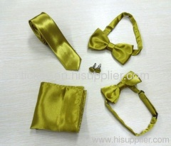 100% polyester champagne yellow satin tie set