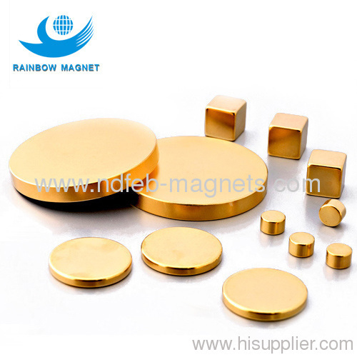 sintered neodymium disc magnets with gloden coating