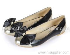 Women bowtie gold and black flat ladies shoes