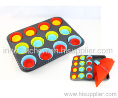 28pcs silicone carbon steel square muffin bakeware