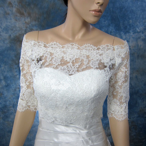 Off-Shoulder Alencon Lace Bridal Bolero Wedding jacket shrug