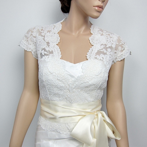 Front open Alencon Lace Wedding jacket Bridal Bolero shrug