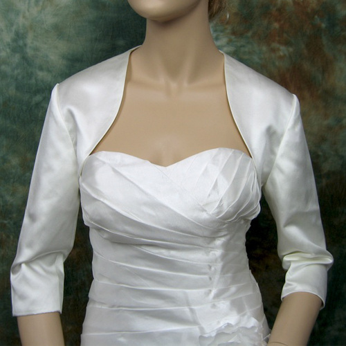 3/4 sleeve wedding satin bolero jacket Satin