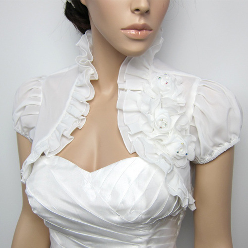 short sleeve bridal chiffon wedding bolero jacke