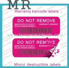 One Time Use Bar Code Labels With Numbers