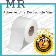 Adhesive ultra destructible vinyl label material