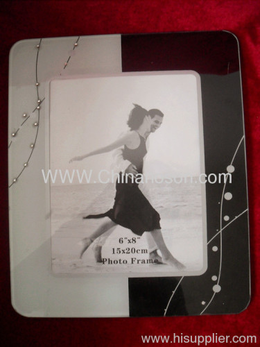 White and black Glass Photo Frame