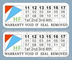 tamper evident warranty stickers