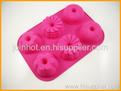 Kitchen Red Silicone Bakeware 6Different Cup Design Baking Mold Jelly Cake Pan