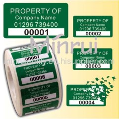 Custom Tamper evident labels,manufacturer of destructible labels