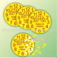 Round Yellow warranty stickers with dates,tamper sticker screw labels with dates,round tamper resistant stickers
