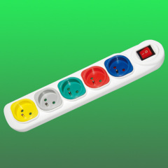5 way colorful european extension socket with switch