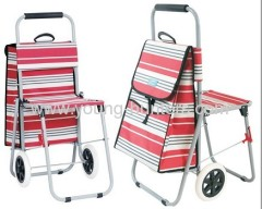 Red Strip Foldable Shopping Trolley Bag