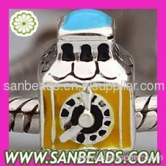 Wholesale European Sterling Silver Clock Charm Beads