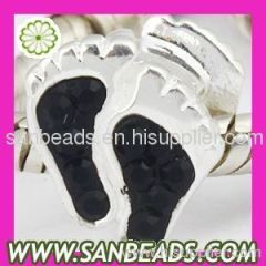 Wholesale 925 Sterling Silver Foot Charm Bead With Black Austrian Crystal