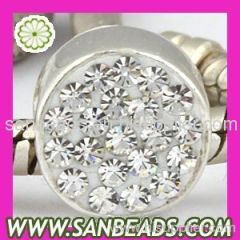 Fashion European Crystal Cylinder Sterling Silver Charm Beads