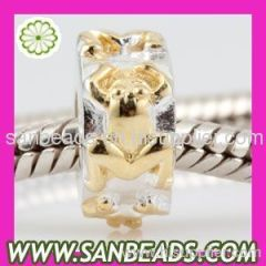 2012 Newest Design Wholesale Silver gold plated frog charm Beads For European Jewelry