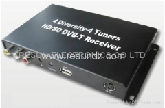 4 Diversity 4 Tuner HD MPEG-4 H.264 SD DVB-T Receiver for Car