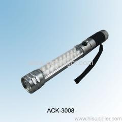 SOS 6Red LED Flashlight 9+18 LED Working Light Magent Light